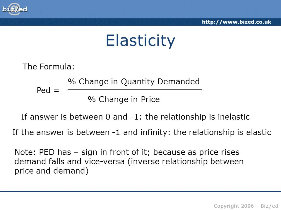 http://www.bized.co.uk Copyright 2006 – Biz/ed Elasticity The Formula: Ped = % Change in Quantity Demanded ___________________________ % Change in Price If answer is between 0 and -1: the relationship is inelastic If the answer is between -1 and infinity: the relationship is elastic Note: PED has – sign in front of it; because as price rises demand falls and vice-versa (inverse relationship between price and demand)