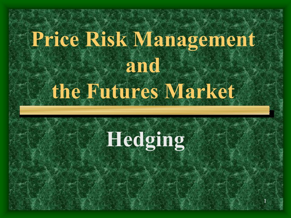 1 Price Risk Management and the Futures Market Hedging