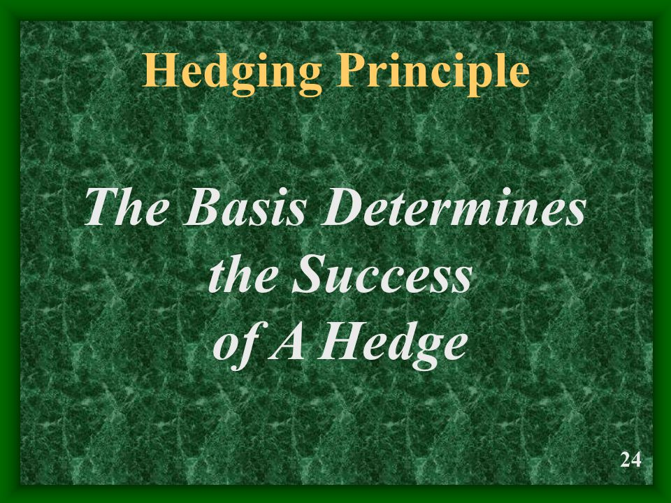 24 Hedging Principle The Basis Determines the Success of A Hedge