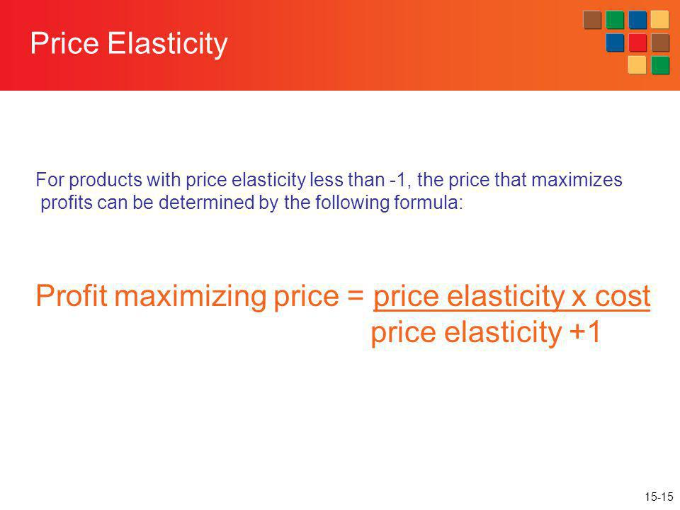 15-15 Price Elasticity For products with price elasticity less than -1, the price that maximizes profits can be determined by the following formula: P