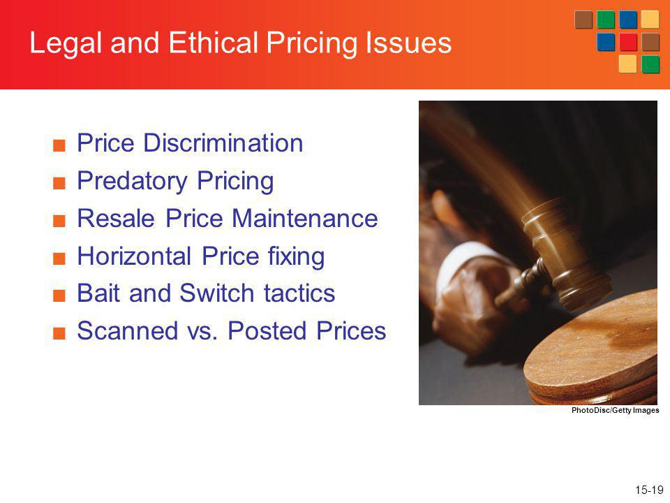 15-19 Legal and Ethical Pricing Issues Price Discrimination Predatory Pricing Resale Price Maintenance Horizontal Price fixing Bait and Switch tactics