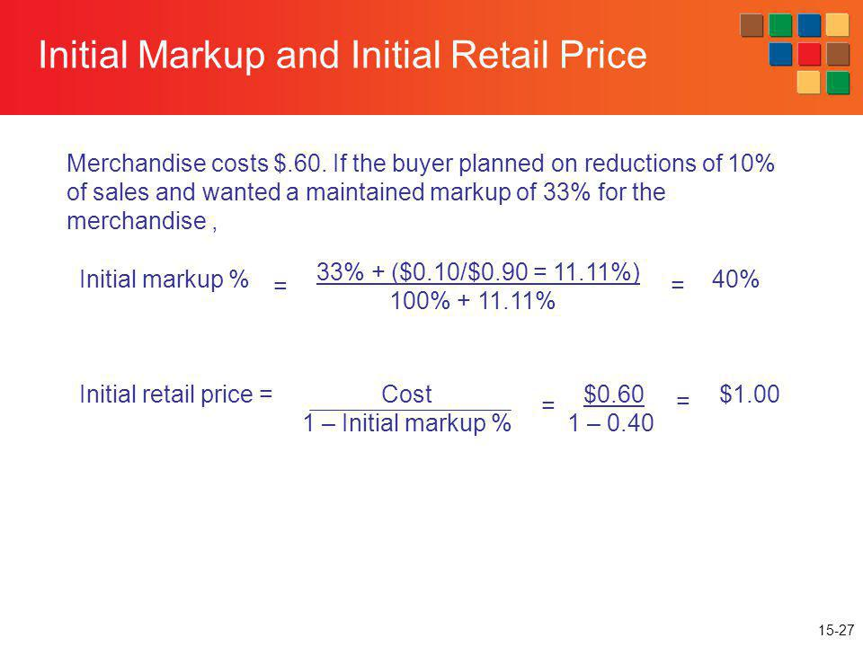 15-27 Initial Markup and Initial Retail Price Merchandise costs $.60. If the buyer planned on reductions of 10% of sales and wanted a maintained marku