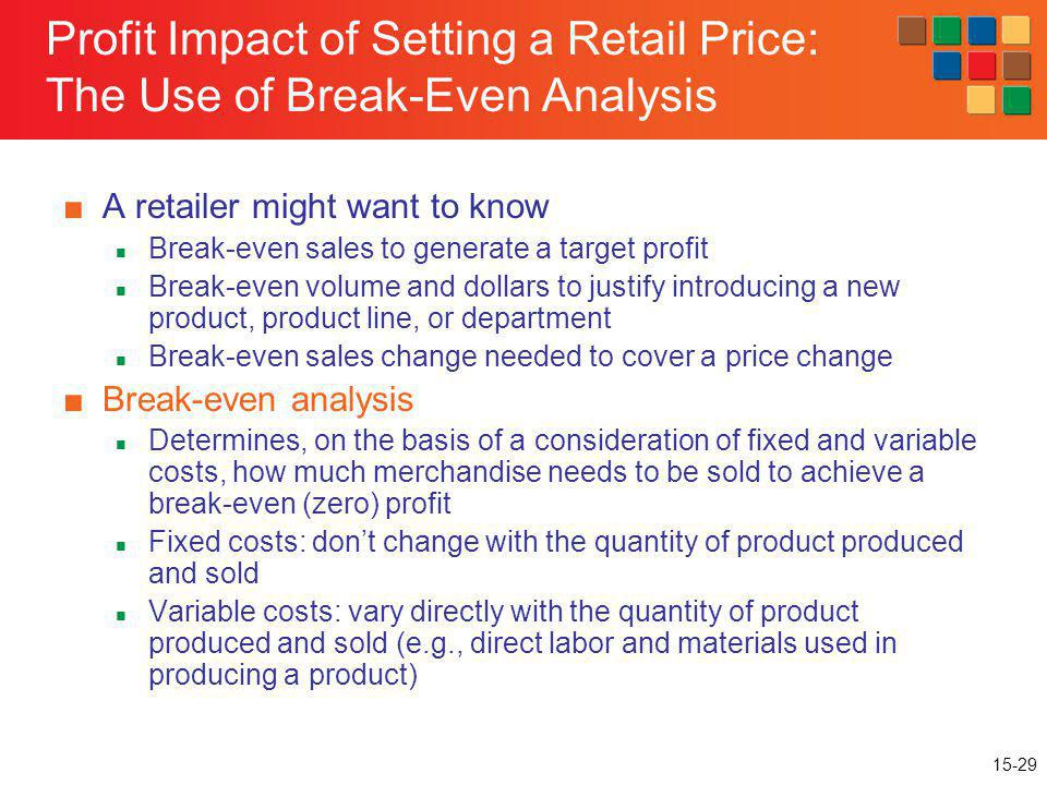 15-29 Profit Impact of Setting a Retail Price: The Use of Break-Even Analysis A retailer might want to know Break-even sales to generate a target prof