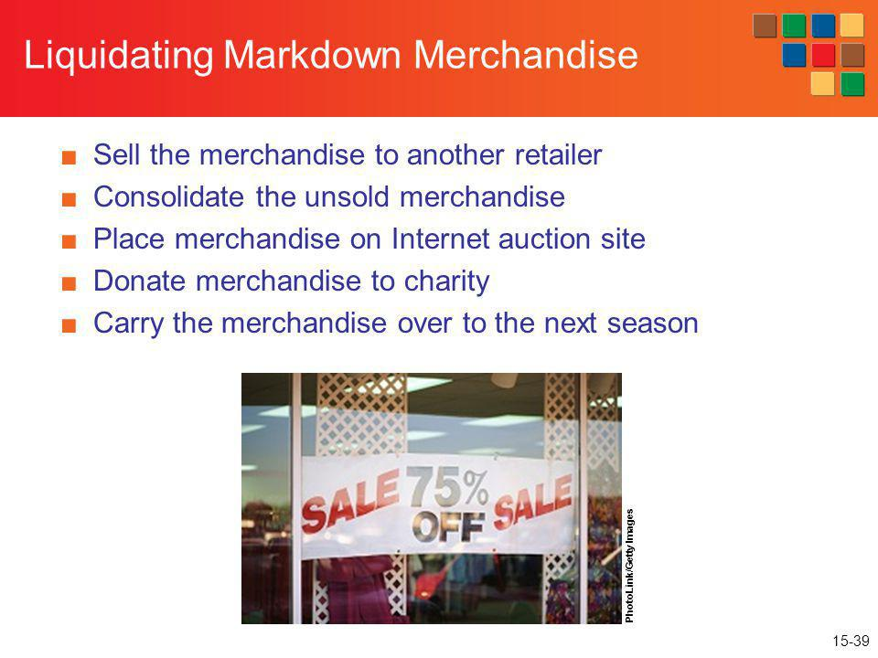 15-39 Liquidating Markdown Merchandise Sell the merchandise to another retailer Consolidate the unsold merchandise Place merchandise on Internet aucti