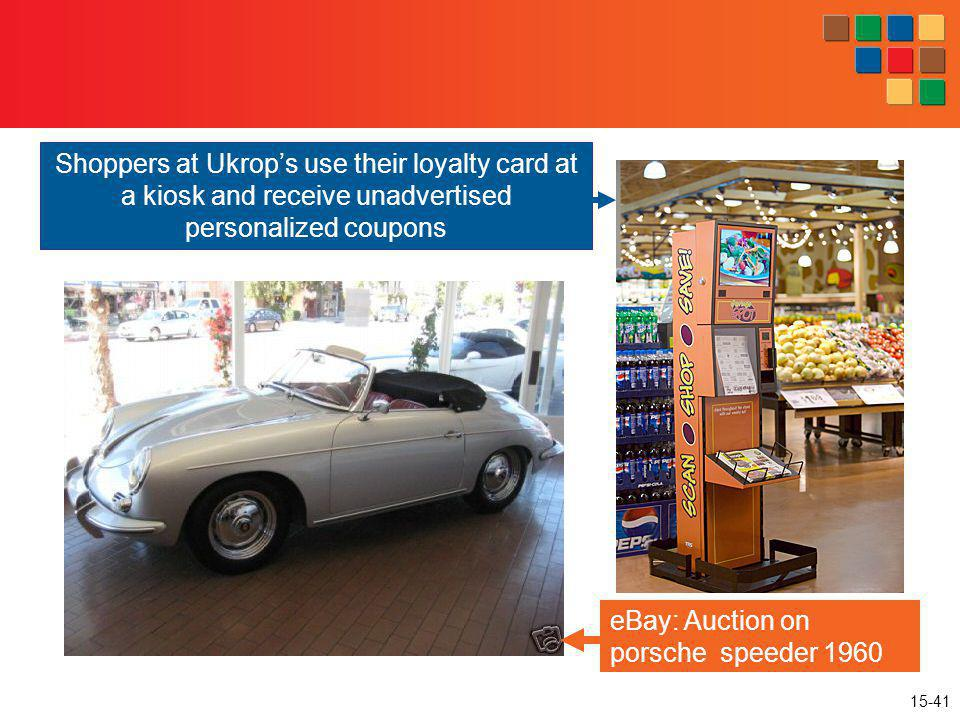 15-41 eBay: Auction on porsche speeder 1960 Shoppers at Ukrops use their loyalty card at a kiosk and receive unadvertised personalized coupons