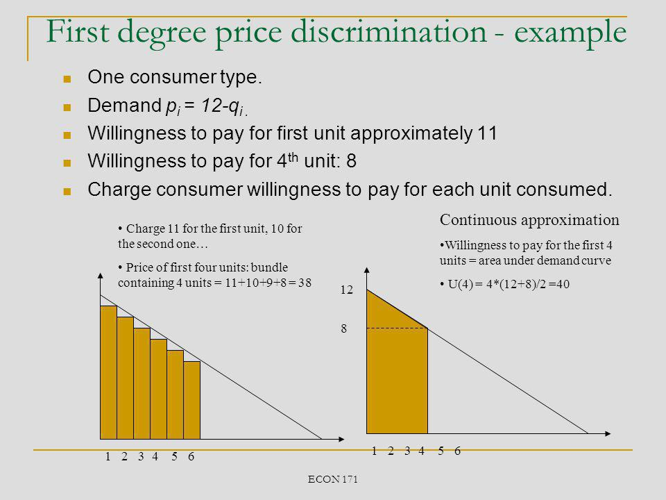 ECON 171 More general case 12 x 12-x Willingnes to pay for first x units = x * (12+12-x)/2 = 12x- ½ x 2 More generally price for first x units: Linear case P(q) =A-Bq P(x) = Ax- ½ Bx 2
