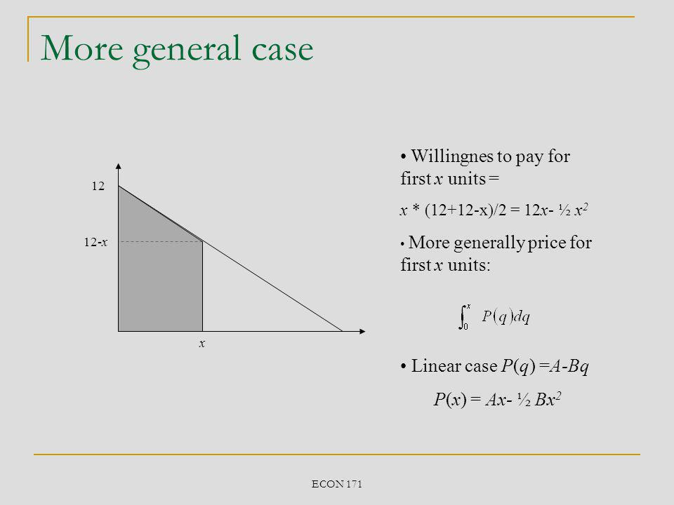 ECON 171 Block pricing 2 Old $ Quantity VoVo VoVo Young $ Quantity VyVy VyVy MC cc Quantity supplied to each Old customer Quantity supplied to each Young customer QoQo QyQy Willingness to pay of each Old customer Willingness to pay of each Young customer WTP o = (V o – c) 2 /2 + (V o – c)c = (V o 2 – c 2 )/2 WTP y = (V y – c) 2 /2 + (V y – c)c = (V y 2 – c 2 )/2