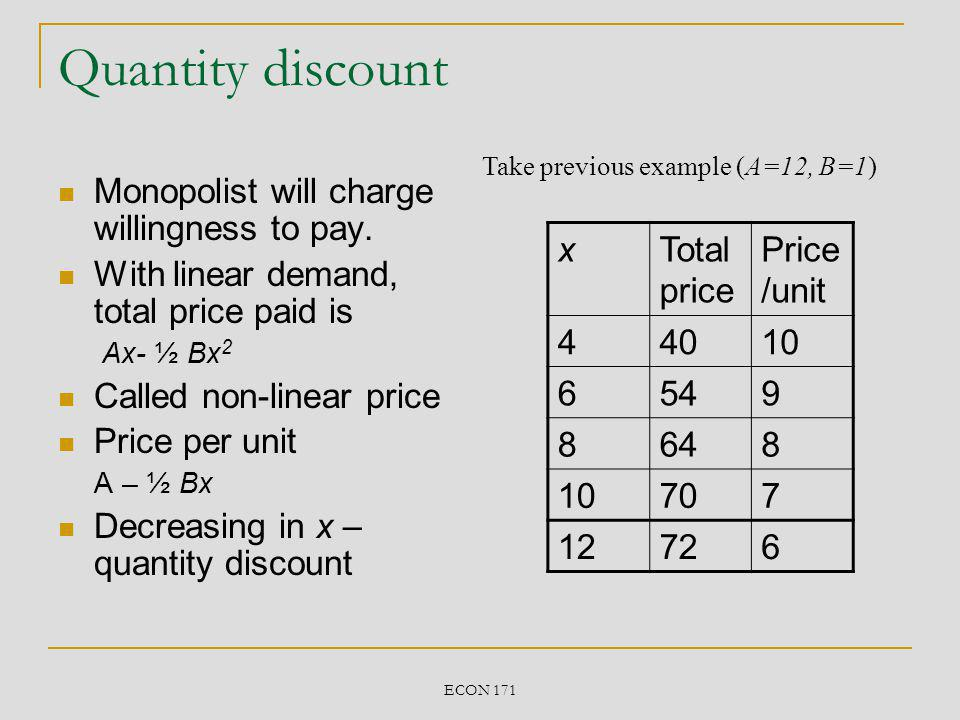 ECON 171 Summary First degree price discrimination (charging different prices for additional units) allow monopolist to extract more surplus.