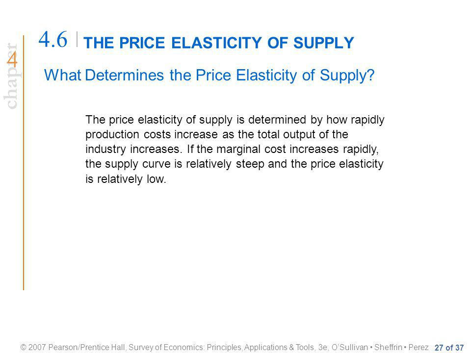 chapter © 2007 Pearson/Prentice Hall, Survey of Economics: Principles, Applications & Tools, 3e, OSullivan Sheffrin Perez 27 of 37 THE PRICE ELASTICITY OF SUPPLY 4.6 What Determines the Price Elasticity of Supply.