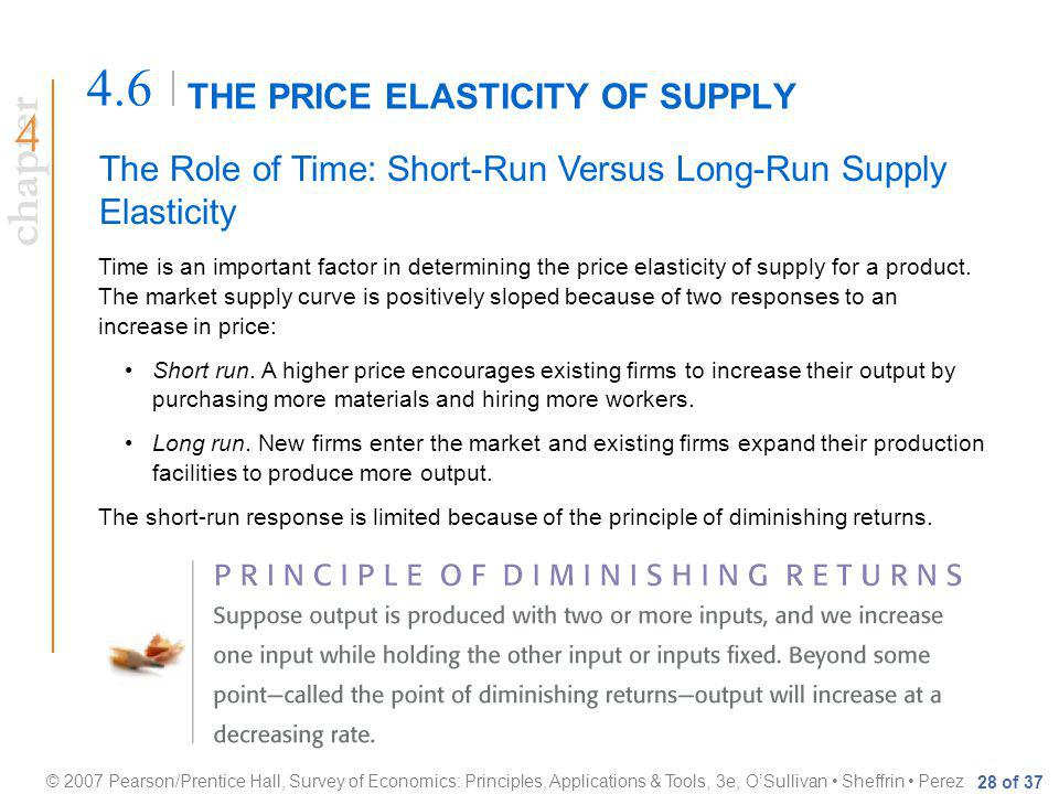 chapter © 2007 Pearson/Prentice Hall, Survey of Economics: Principles, Applications & Tools, 3e, OSullivan Sheffrin Perez 28 of 37 THE PRICE ELASTICITY OF SUPPLY 4.6 The Role of Time: Short-Run Versus Long-Run Supply Elasticity Time is an important factor in determining the price elasticity of supply for a product.