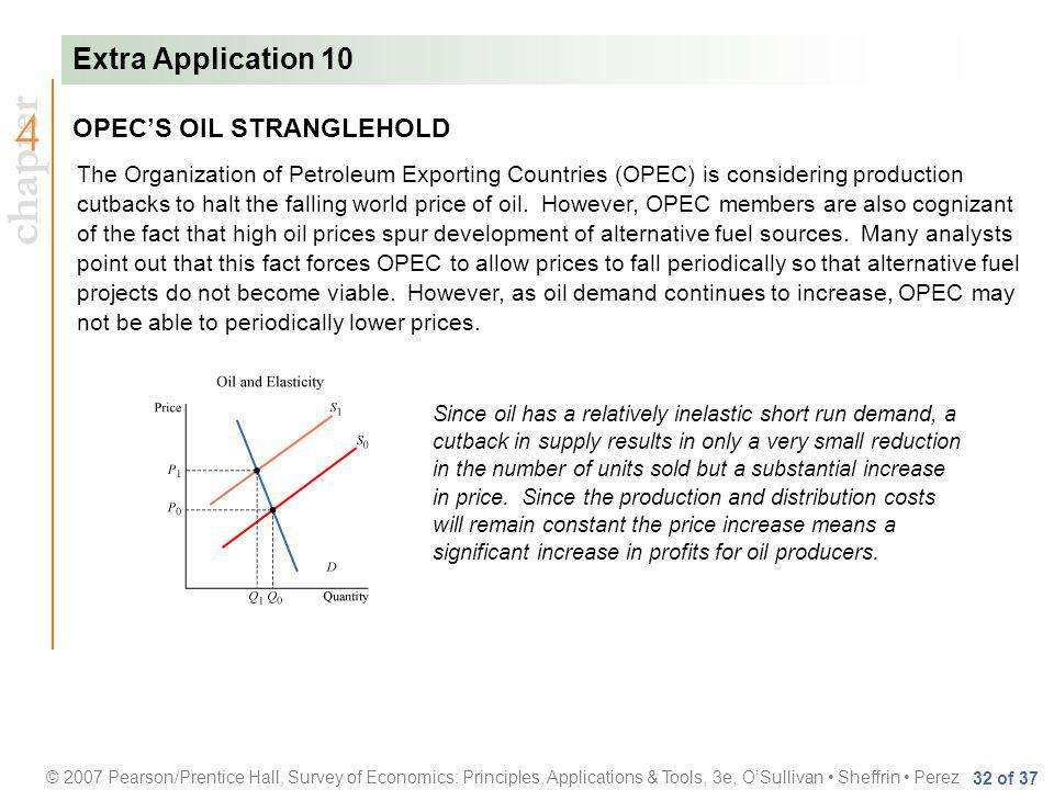 chapter © 2007 Pearson/Prentice Hall, Survey of Economics: Principles, Applications & Tools, 3e, OSullivan Sheffrin Perez 32 of 37 OPECS OIL STRANGLEHOLD The Organization of Petroleum Exporting Countries (OPEC) is considering production cutbacks to halt the falling world price of oil.