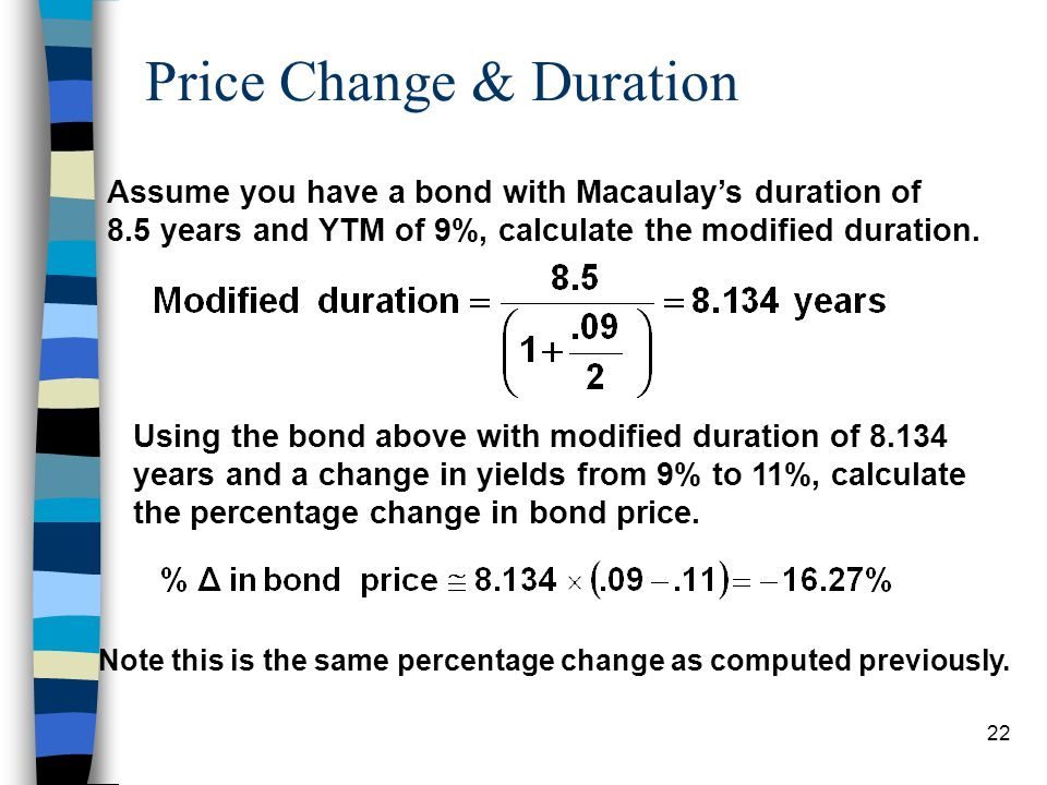 21 Calculating Price Change Assume a bond with Macaulays duration of 8.5 years, with the YTM at 9%, but estimated the YTM will go to 11%, calculate th