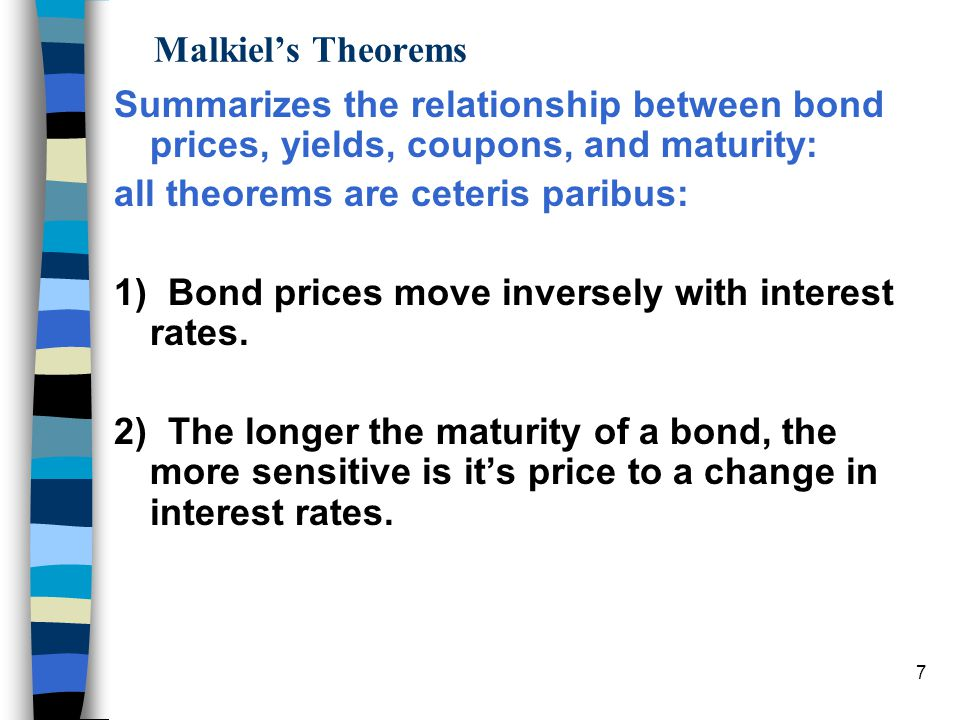 6 n Decreasing yields cause bond prices to rise, but long-term bonds increase more than short-term. Similarly, increasing yields cause long-term bonds