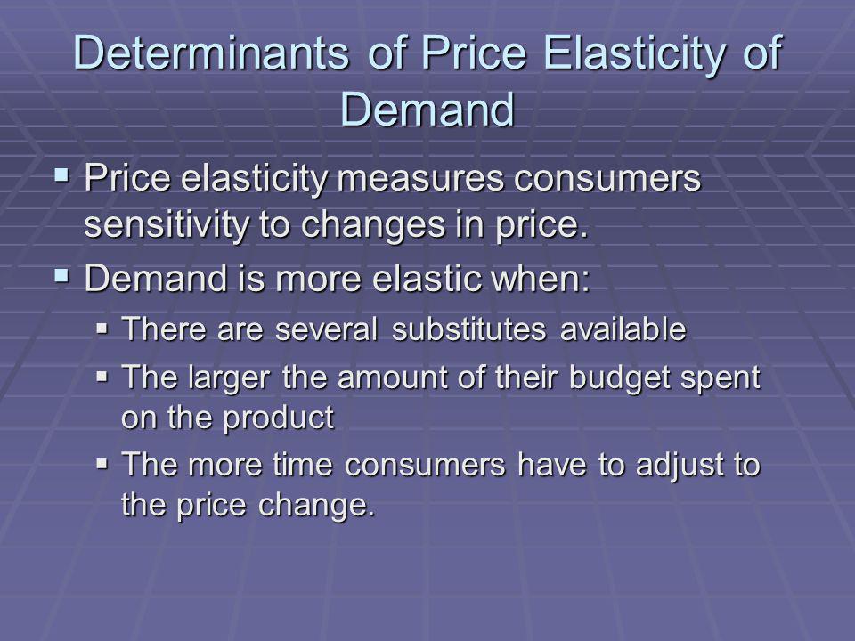 Determinants of Price Elasticity of Demand Price elasticity measures consumers sensitivity to changes in price. Price elasticity measures consumers se
