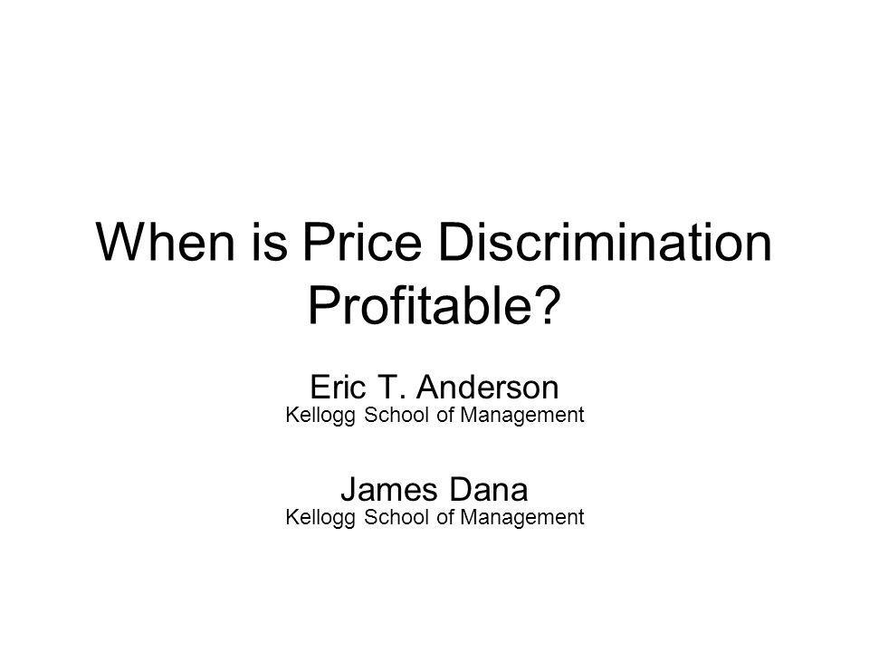 Motivation Price Discrimination by a Monopolist –Offer multiple products of differing qualities –Distort quality sold to low value consumers (Mussa and Rosen, 1978) But, price discrimination is not always optimal, and certainly not always used –Stokey (1979) –Salant (1989)