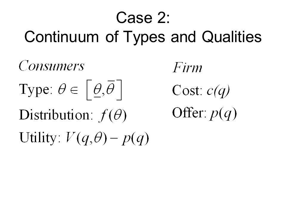 Case 2: Continuum of Types and Qualities