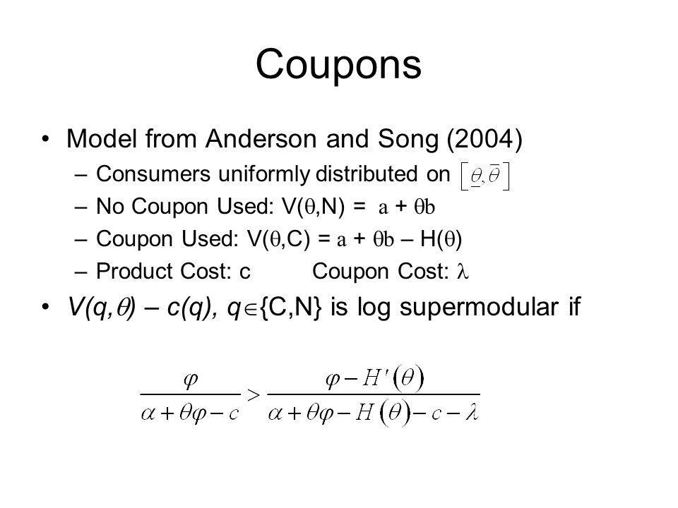 Coupons Model from Anderson and Song (2004) –Consumers uniformly distributed on –No Coupon Used: V(,N) = a + b –Coupon Used: V(,C) = a + b – H( ) –Pro