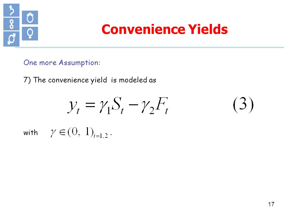 One more Assumption: 7) The convenience yield is modeled as with. Convenience Yields 17