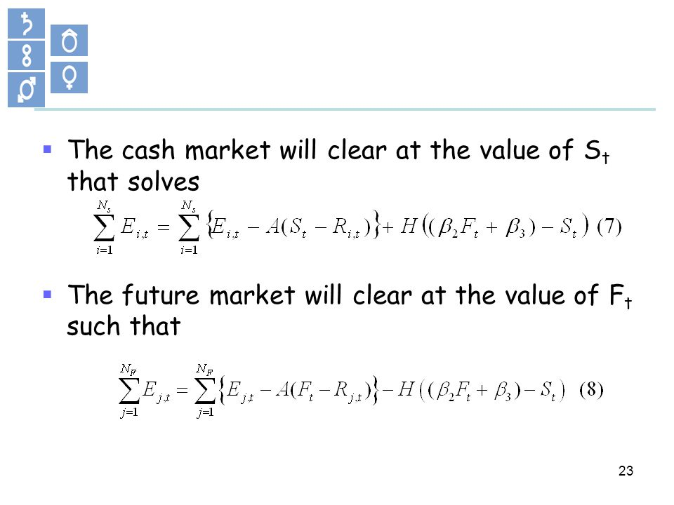 23 The cash market will clear at the value of S t that solves The future market will clear at the value of F t such that