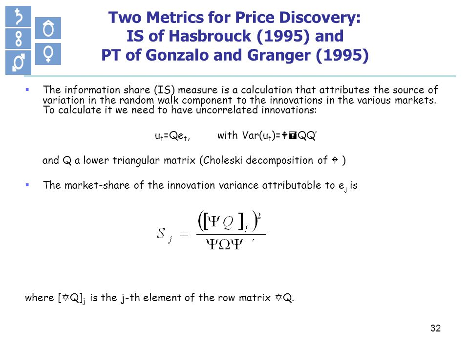 32 Two Metrics for Price Discovery: IS of Hasbrouck (1995) and PT of Gonzalo and Granger (1995) The information share (IS) measure is a calculation that attributes the source of variation in the random walk component to the innovations in the various markets.
