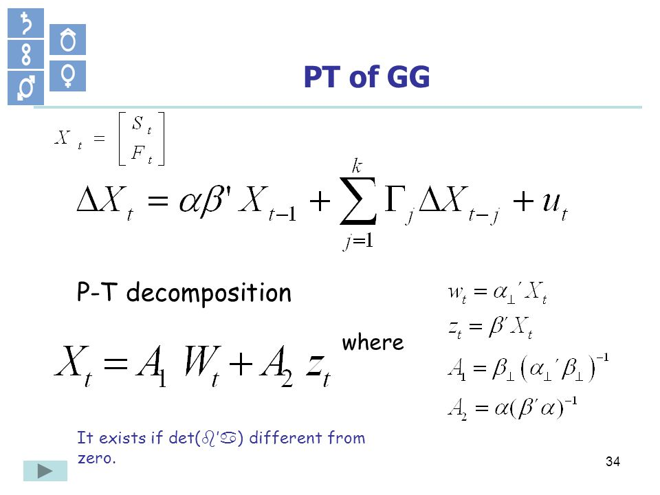 34 PT of GG P-T decomposition where It exists if det( b a ) different from zero.