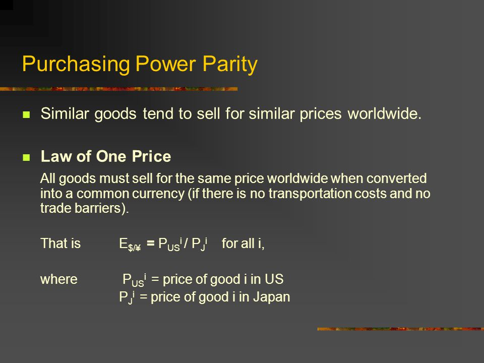 Prices and Exchange Rates Purchasing Power Parity