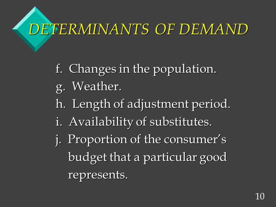 10 DETERMINANTS OF DEMAND f. Changes in the population.