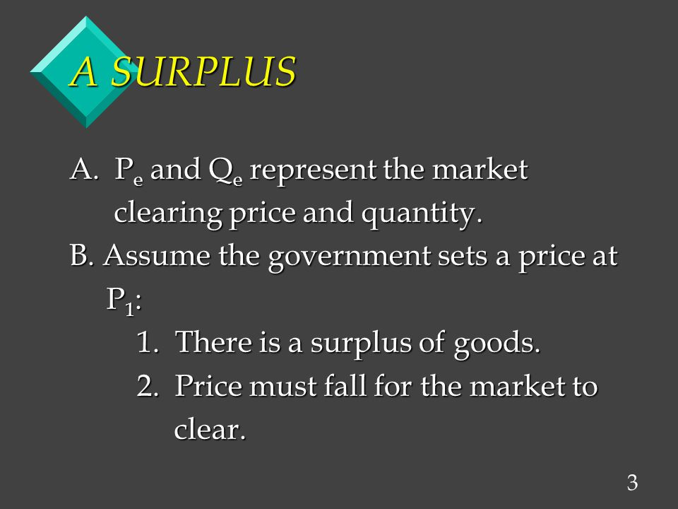 3 A SURPLUS A. P e and Q e represent the market clearing price and quantity.