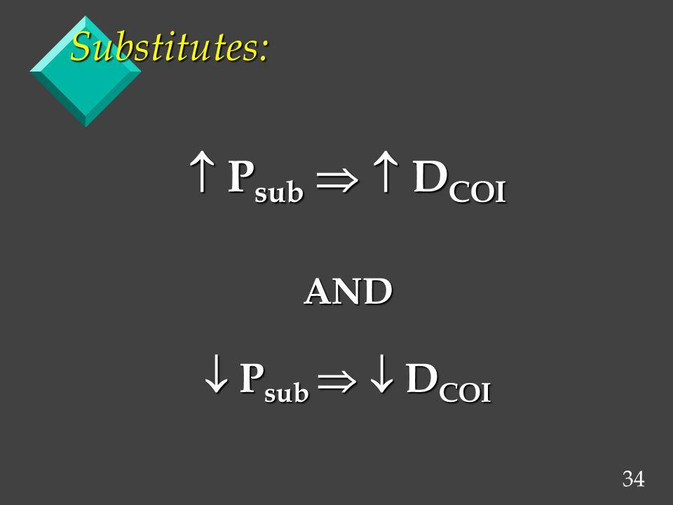 34 Substitutes: P sub D COI P sub D COIAND