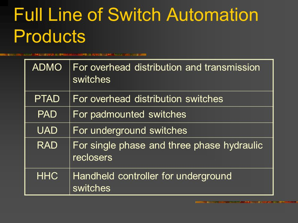 Full Line of Switch Automation Products ADMOFor overhead distribution and transmission switches PTADFor overhead distribution switches PADFor padmount