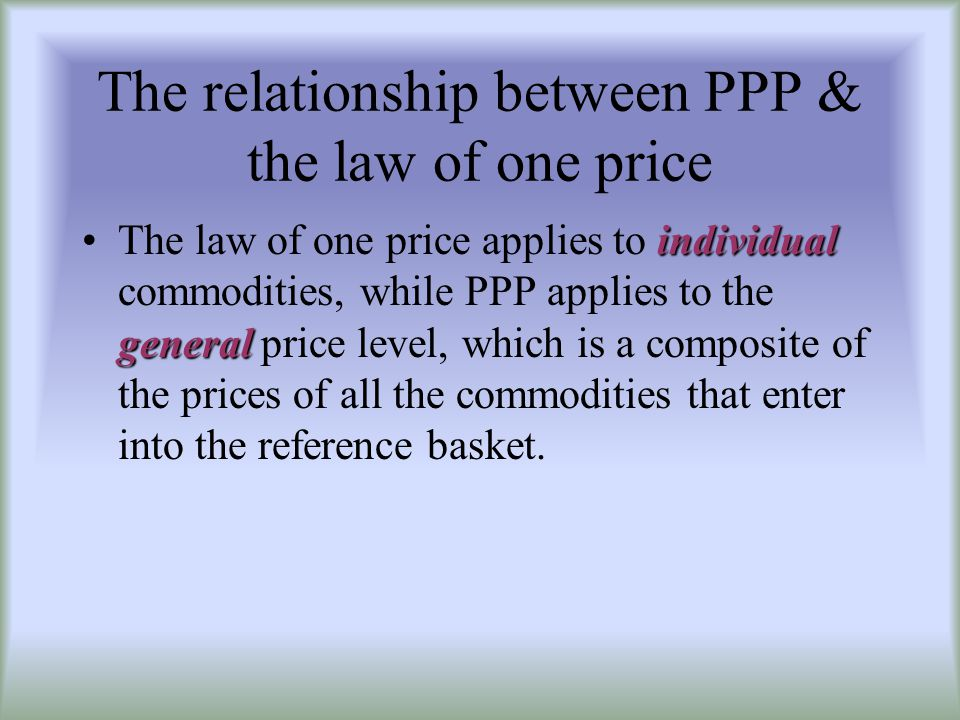 Explaining the problems with PPP 1.transportation costs + trade barrier 2.monopolistic/oligopolistic practices 3.inflation data + commodity baskets