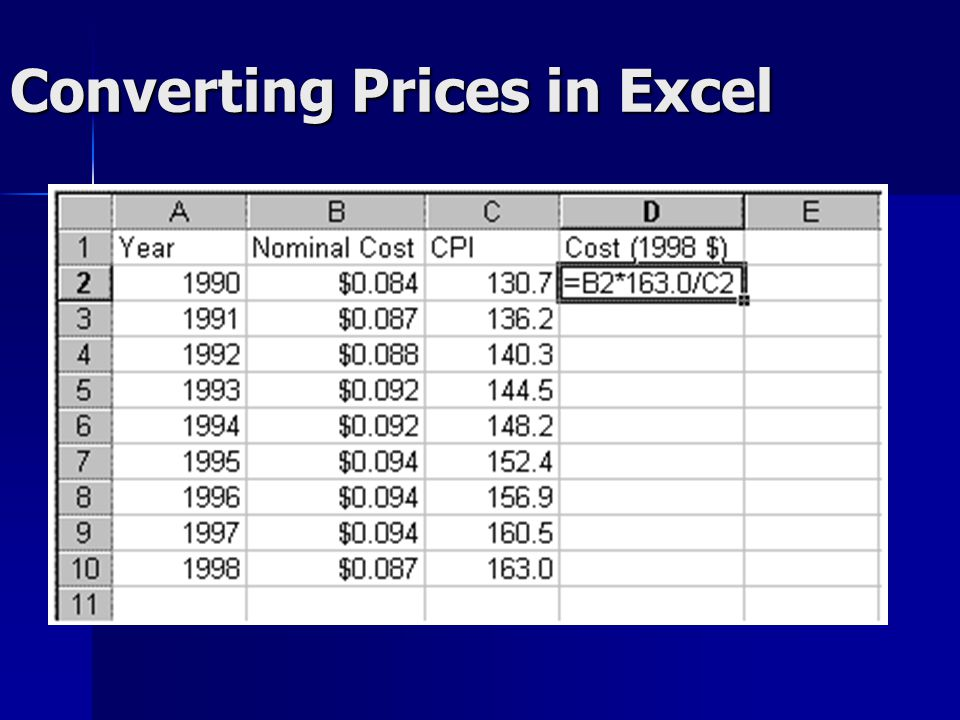Converting Prices in Excel