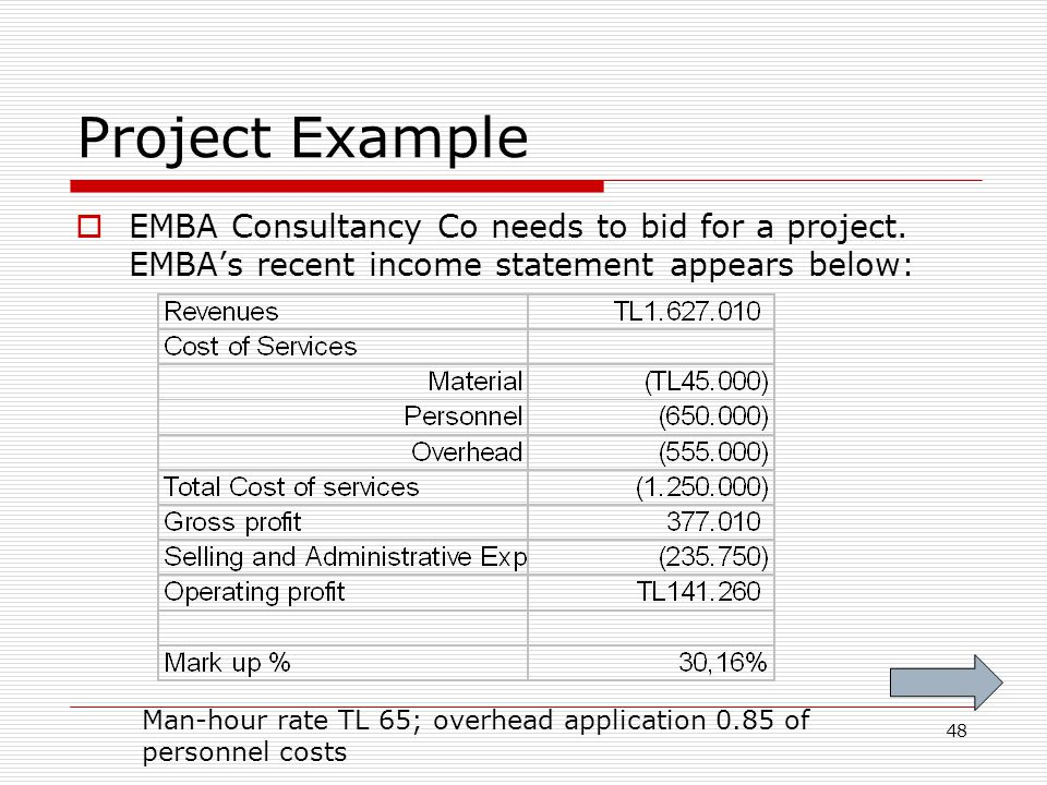 48 Project Example EMBA Consultancy Co needs to bid for a project. EMBAs recent income statement appears below: Man-hour rate TL 65; overhead applicat