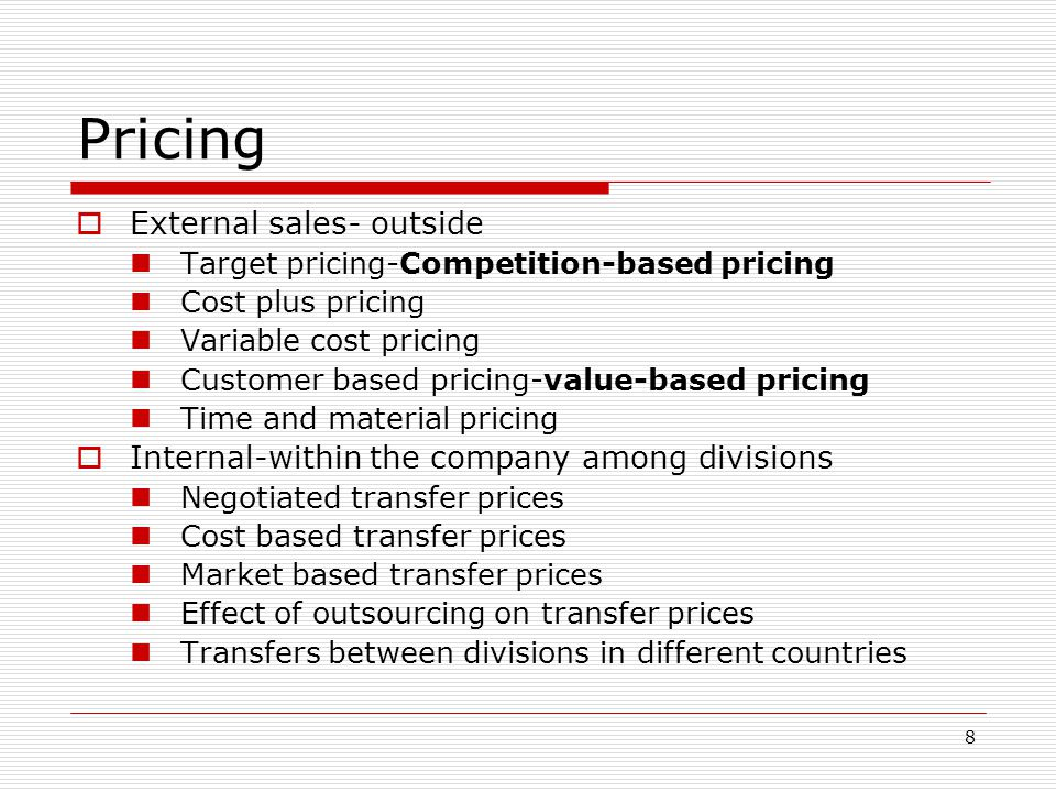 19 Alternative Long-Run Pricing Approaches Market-Based: price charged is based on what customers want and how competitors react Cost-Based: price charged is based on what it cost to produce, coupled with the ability to recoup the costs and still achieve a required rate of return