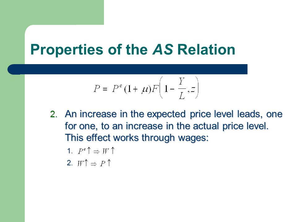 Properties of the AS Relation 2. An increase in the expected price level leads, one for one, to an increase in the actual price level. This effect wor