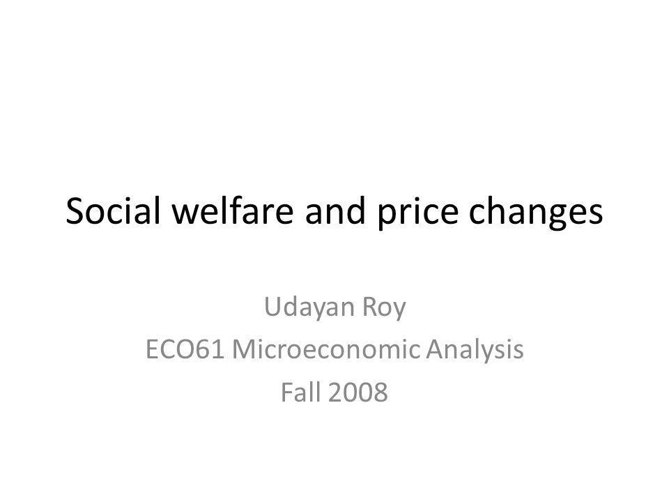Social welfare and price changes Udayan Roy ECO61 Microeconomic Analysis Fall 2008