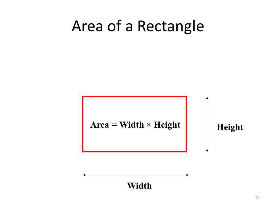 12 Area of a Rectangle Height Width Area = Width × Height