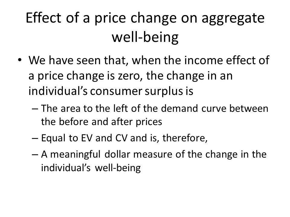 Effect of a price change on aggregate well-being We have seen that, when the income effect of a price change is zero, the change in an individuals consumer surplus is – The area to the left of the demand curve between the before and after prices – Equal to EV and CV and is, therefore, – A meaningful dollar measure of the change in the individuals well-being