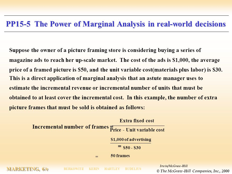 Irwin/McGraw-Hill © The McGraw-Hill Companies, Inc., 2000 MARKETING, 6/e BERKOWITZ KERIN HARTLEY RUDELIUS PP15-5 The Power of Marginal Analysis in real-world decisions Suppose the owner of a picture framing store is considering buying a series of magazine ads to reach her up-scale market.