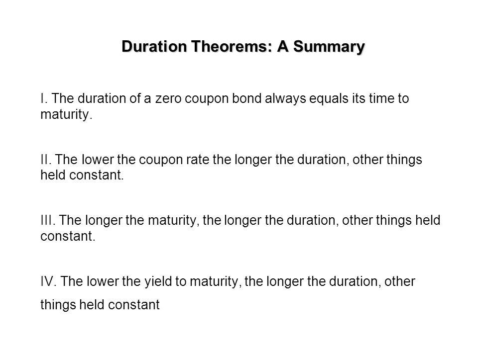 Duration Theorems: A Summary I.