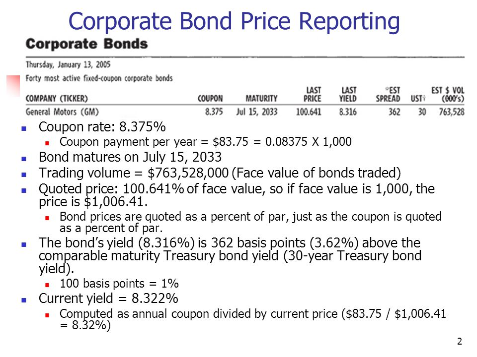 2 Corporate Bond Price Reporting Coupon rate: 8.375% Coupon payment per year = $83.75 = 0.08375 X 1,000 Bond matures on July 15, 2033 Trading volume = $763,528,000 (Face value of bonds traded) Quoted price: 100.641% of face value, so if face value is 1,000, the price is $1,006.41.