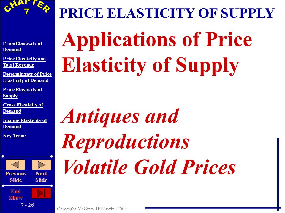 7 - 25 Copyright McGraw-Hill/Irwin, 2005 Price Elasticity of Demand Price Elasticity and Total Revenue Determinants of Price Elasticity of Demand Pric