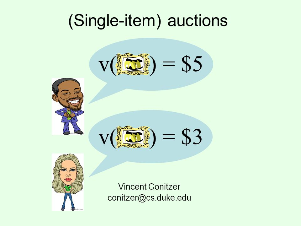 Other settings Reverse auction: auctioneer wants to buy an item, bidders who own (a unit of) the item submit their valuations for the item, (typically) lowest bid wins –Application: task allocation (auctioneer wants to buy an agents services) –In many ways similar to normal (forward) auctions Exchanges/double auctions: buyers and sellers both submit values (and potentially quantities)
