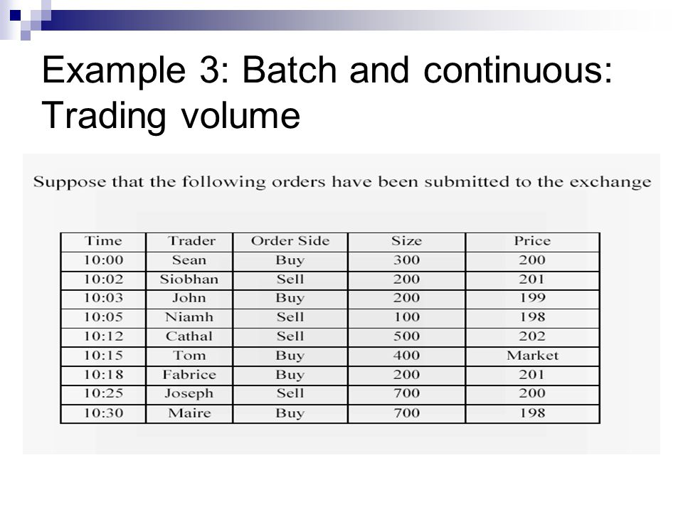 Example 3: Batch and continuous: Trading volume