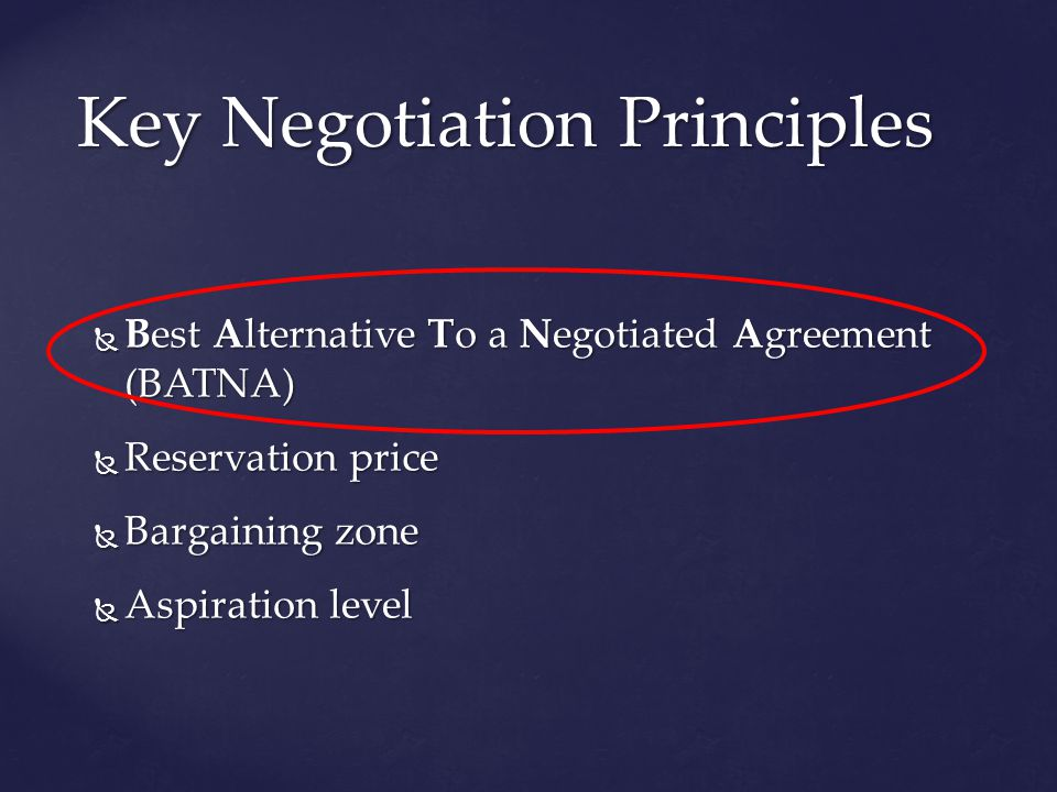 Best Alternative To a Negotiated Agreement (BATNA) Best Alternative To a Negotiated Agreement (BATNA) Reservation price Reservation price Bargaining zone Bargaining zone Aspiration level Aspiration level Key Negotiation Principles