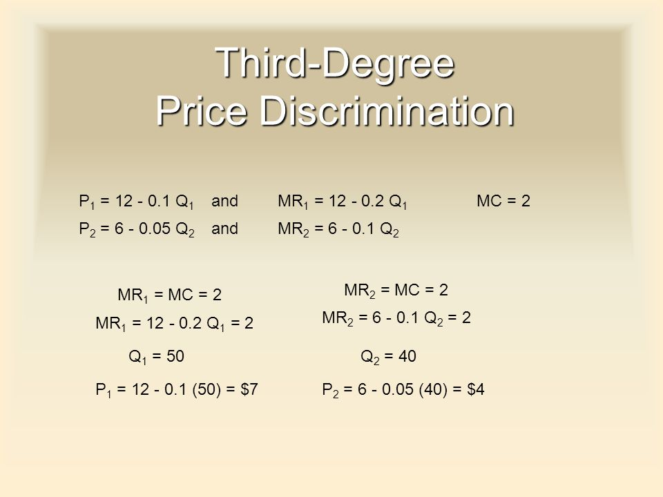 Third-Degree Price Discrimination P 1 = 12 - 0.1 Q 1 and MR 1 = 12 - 0.2 Q 1 MC = 2 P 2 = 6 - 0.05 Q 2 and MR 2 = 6 - 0.1 Q 2 MR 1 = MC = 2 MR 2 = MC = 2 MR 1 = 12 - 0.2 Q 1 = 2 Q 1 = 50 MR 2 = 6 - 0.1 Q 2 = 2 Q 2 = 40 P 2 = 6 - 0.05 (40) = $4P 1 = 12 - 0.1 (50) = $7