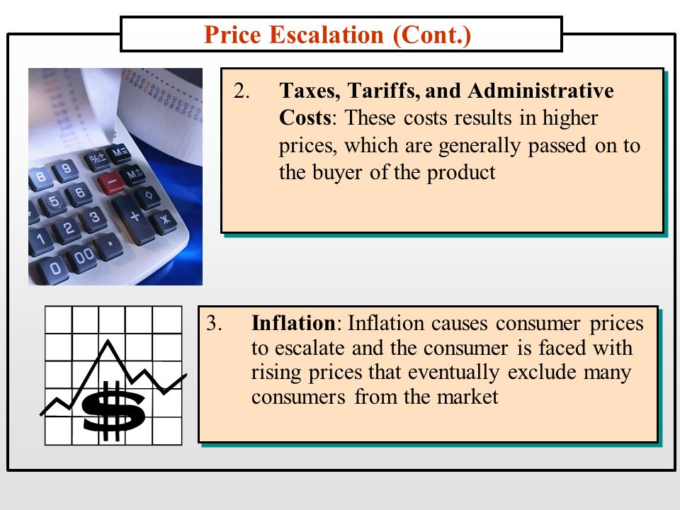 Price Escalation (Cont.) 2.Taxes, Tariffs, and Administrative Costs: These costs results in higher prices, which are generally passed on to the buyer of the product 3.Inflation: Inflation causes consumer prices to escalate and the consumer is faced with rising prices that eventually exclude many consumers from the market