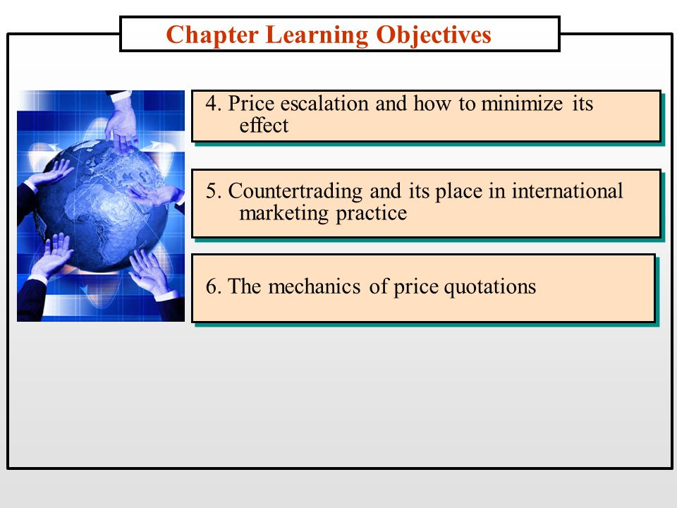 Chapter Learning Objectives 4. Price escalation and how to minimize its effect 5.