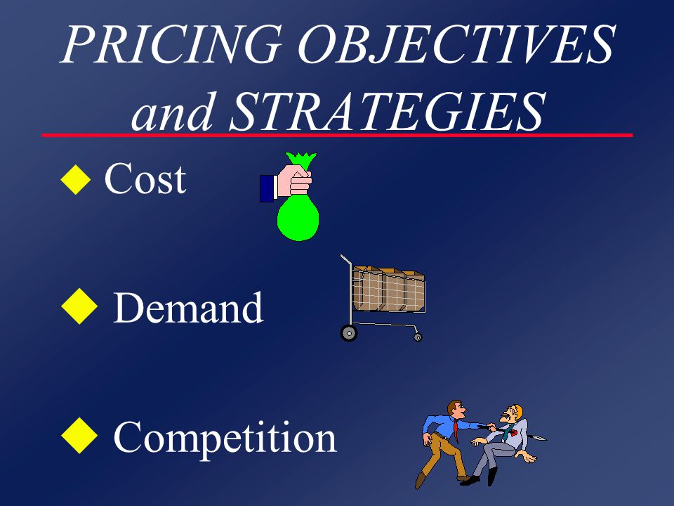 PRICING OBJECTIVES and STRATEGIES u Cost u Demand u Competition