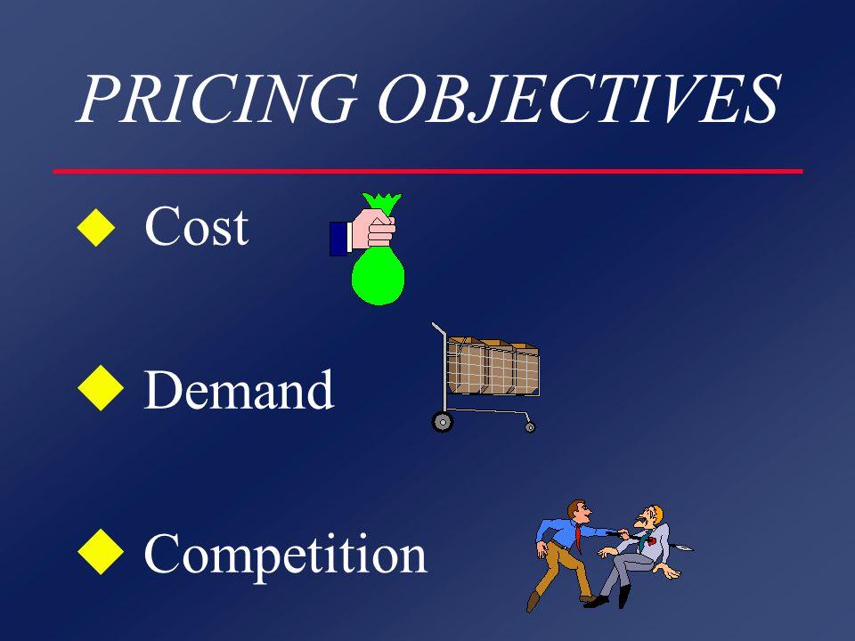 PRICING OBJECTIVES COST ORIENTED u Emphasis - Cost/Profit l Target Return l Satisfactory Return l Maximize Current Profit l Maximize Long Term Profit
